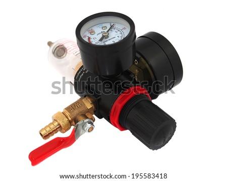 Valve compressor on white background - stock photo