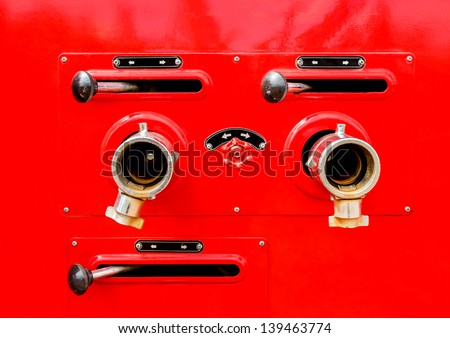 valve control on firefighters car - stock photo