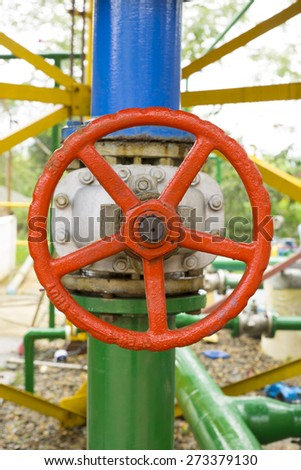 Valve In A Water Pump Station - stock photo