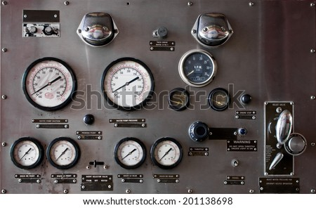 valve main control Fire truck car firefighter rescue - stock photo