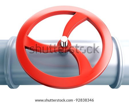 Valve on the tube. Pipeline - stock photo