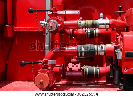 Valves and Fire hose connection ,fire fighting equipment for fire truck. - stock photo