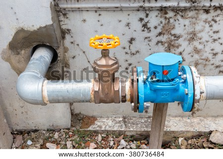 Valves and meter on big water pipe