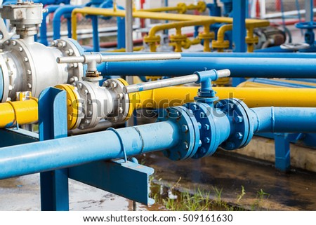 Valves at gas plant, Pressure safety valve selective focus