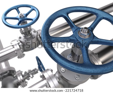 Valves. Industrial Background - stock photo
