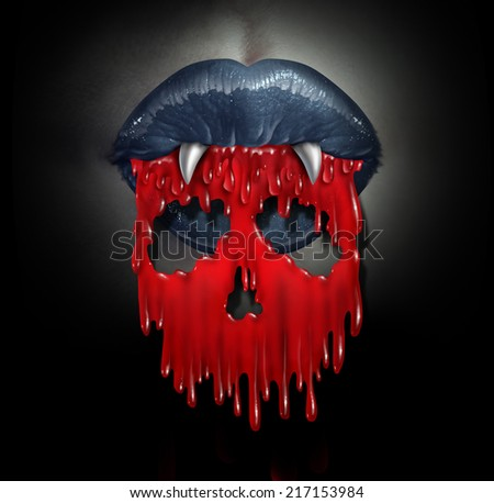 Vampire blood concept as a horror symbol of  bloodthirsty demon lips spilling red liquid shaped as a skull of death as a metaphor for horror and evil during Halloween. - stock photo