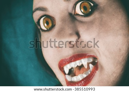 Vampire Evil Girl. Vampire girl face closeup with large yellow eyes and fangs.