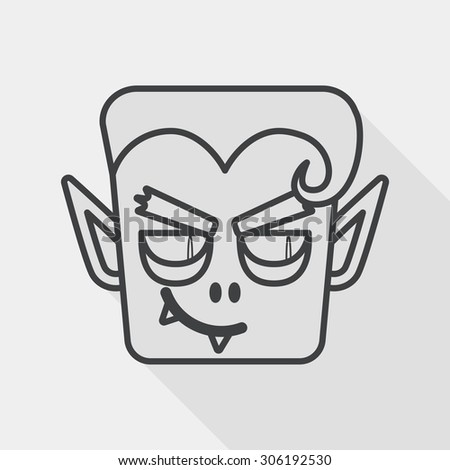 Vampire flat icon with long shadow, line icon - stock photo