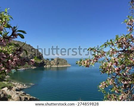 van lake is the largest lake in Turkey - stock photo