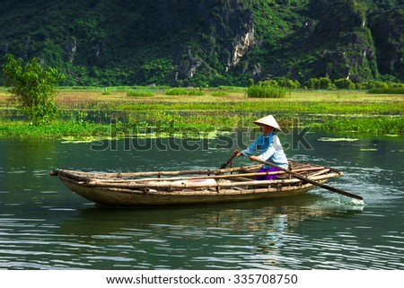 Van Long lake at September 20, 2015 in Ninh Binh, Vietnam.