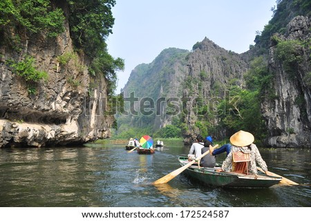 Van Long natural reserve in Ninh Binh, Vietnam