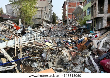 VAN, TURKEY - OCTOBER 25: Buildings ruined during the earthquake of Van-Ercis on October 25, 2011 in Van, Turkey. It is 604 killed and 4152 injured in Van-Ercis Earthquake.