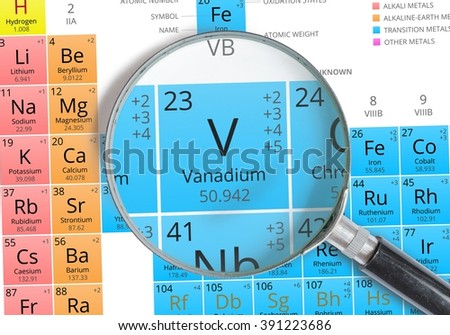 Vanadium symbol v element periodic table stock photo royalty free vanadium symbol v element of the periodic table zoomed with magnifying glass urtaz Images