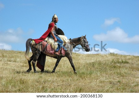 VANADZOR, ARMENIA - AUG 18, 2008: As the ancient Armenian legends in this field fought Hayk and Bel. Armenian actors show on this site. - stock photo