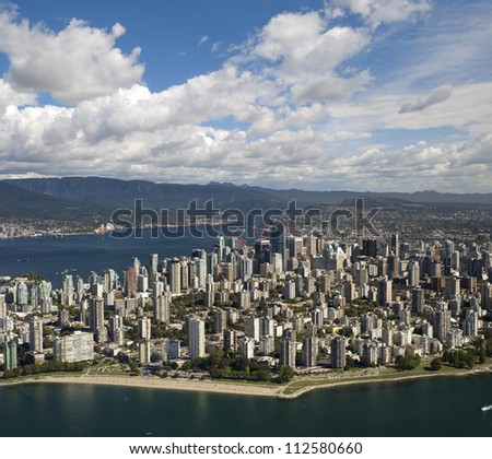 Vancouver Aerial- Downtown, West End and Coast Mountains - stock photo