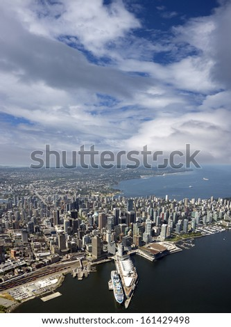 Vancouver - aerial view of downtown, English Bay and Kitsilano - stock photo