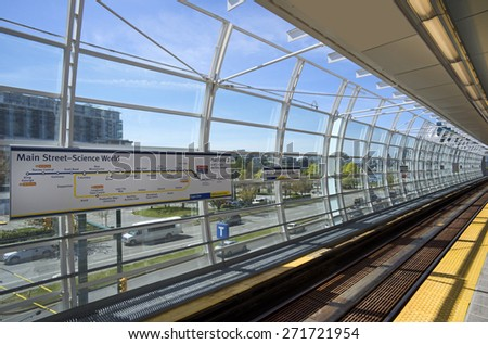 VANCOUVER - APRIL 19, 2015: Main Street-Science World, the oldest station on TransLink rapid transit system was reconstructed and re-opened for Expo and Millennium Line trains. British Columbia Canada - stock photo