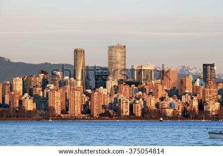 Vancouver at sunset, British Columbia, Canada (February 2016) - stock photo