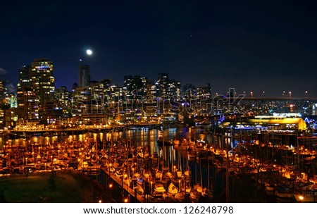 Vancouver Bay On A Clear Night - stock photo