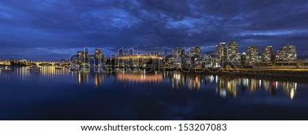 Vancouver BC Canada Downtown City Skyline by False Creek at Evening Blue Hour Panorama