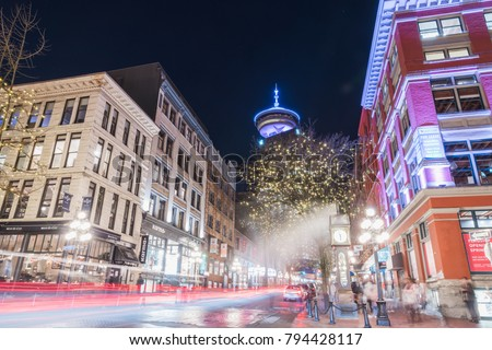 Vancouver BC Canada,January 13 2018,downtown Vancouver and Gas town street night
