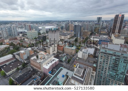 VANCOUVER, BC, CANADA - JULY 8, 2016 Downtown Vancouver BC