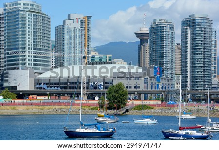VANCOUVER BC CANADA JUNE 22 2015: Rogers Arena is an indoor sports arena located at 800 Griffiths Way in the downtown area of Vancouver, British Columbia It is home to the Vancouver Canucks of the NHL