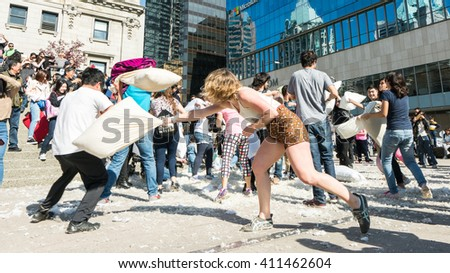 Vancouver BC Canada,3pm April 2 2016. pillows fighting Vancouver 2016 at Robson square Vancouver Canada