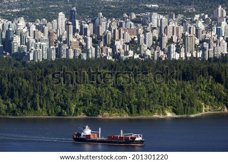 Vancouver BC downtown and Stanley Park, photo June 2014 - stock photo
