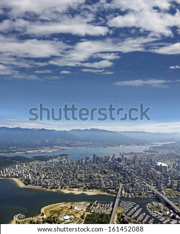 Vancouver BC - Kitsilano, English Bay, Downtown, West End, Burrard Inlet, West Vancouver, North Vancouver and Coast Mountains - stock photo