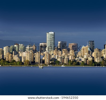 Vancouver BC, Photographed may 2014,  panoramic view with English Bay (Vancouver, British Columbia) - stock photo