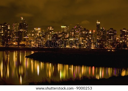Vancouver, British Columbia, Canada at Night with Reflections Editor's Note--In response to comments from reviewer have further processed image to reduce noise and sharpen focus.