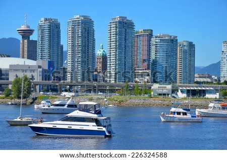 VANCOUVER, CA - JULY 27: Downtown Vancouver Modern Architecture, and Lifestyle on July 27 , 2014in Vancouver, CA. Vancouver has prominent buildings in a variety of styles by many famous architects