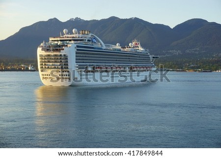 VANCOUVER, CA -6 MAY 2016-  The Crown Princess cruise ship on the water in Burrard Inlet in Vancouver, British Columbia.