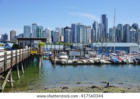VANCOUVER, CA -7 MAY 2016-  View of downtown Vancouver from Stanley Park. Vancouver is the largest city in the province of British Columbia on the West coast of Canada.