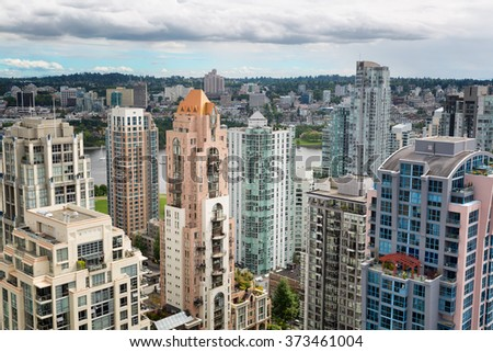 Vancouver, Canada aerial skyline cityscape view - stock photo