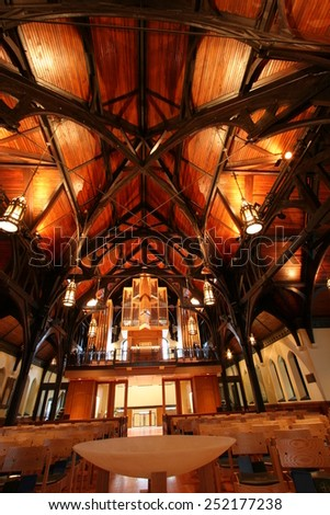 VANCOUVER, CANADA - DEC 9 204 : Interior of the Anglican Church on Walton  Street in Vancouver, British Columbia. It was established in 1914 and renovated at 2003. - stock photo