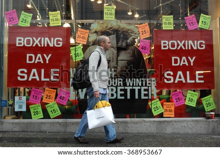 VANCOUVER, CANADA - DECEMBER 26, 2012: In keeping with tradition, thousands of customers shop for bargains on Boxing Day on Dec.26, 2012 in Vancouver, Canada.