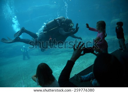 VANCOUVER, CANADA - JANUARY 18, 2015: Divers interact with kids while swimming with beluga whales Vancouver Aquarium's 16th annual Diver's Weekend in Vancouver, Canada, on January 18, 2015.