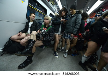 VANCOUVER, CANADA - JANUARY 12, 2014: Vancouver's SkyTrain was busy with bare legs as hundreds of people took off their pants during the 2014 No Pants Subway Ride in Vancouver, Canada, Jan.12, 2014.