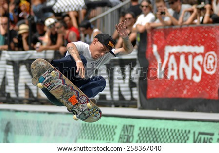 VANCOUVER, CANADA - JULY 12, 2014: Athletes compete in the 2014 Van Doren Invitational skateboard competition in Vancouver, Canada, on July 12, 2014. - stock photo