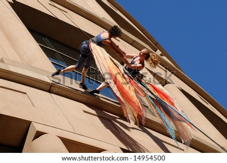 "Vancouver, Canada, 12 July 2008: Members of dance troupe ""Aeriosa"" perform during ""Dancing On The Edge"" Festival"