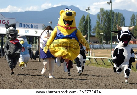 VANCOUVER, CANADA - JULY 28, 2013: Vancouver's Best Mascots race during the 5th annual Mascot Derby race at Hastings Racecourse in Vancouver, Canada, on July 28, 2013. - stock photo