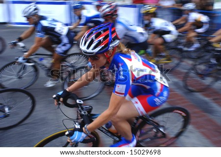 "Vancouver, Canada, 16 July 2008: Women compete in ""Tour de Gastown"" annual bicycle race."