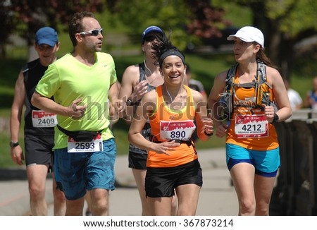 VANCOUVER, CANADA - MAY 3, 2015: Runners take part in the 44th annual BMO Vancouver Marathon in Vancouver, Canada, on May 3, 2015.
