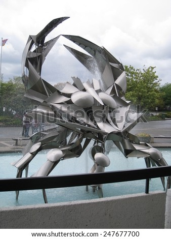 VANCOUVER, CANADA - MAY 23: Stainless steel crab sculpture at the Museum of Vancouver (MOV) in Canada, as seen on May 23, 2010. The MOV is the largest civic museum in Canada and oldest in Vancouver. - stock photo