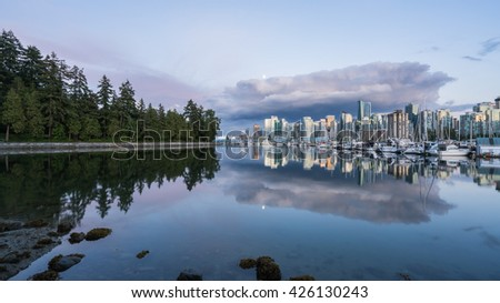 Vancouver Canada,May 19 2016.the clouds over downtown Vancouver.at Stanley park