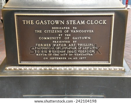 VANCOUVER, CANADA - MAY 25: The Gastown steam clock in Vancouver, Canada, as seen on May 25, 2010. It is one of only a few working steam clocks in the world. - stock photo