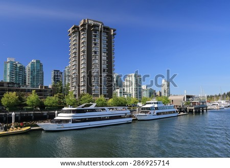 VANCOUVER, CANADA - May 07, 2015: Westin Bayshore Resort in Downtown Vancouver. It is ideally located near many of the city's main points of interest, including BC Place and Rogers Arena. - stock photo