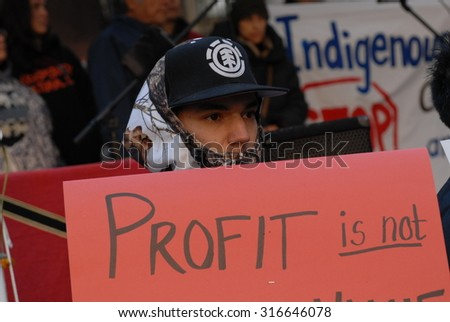 VANCOUVER, CANADA - OCTOBER 16, 2011: Hundreds of people set up tents and protested against corporate greed, as part of global Occupy movement, in Vancouver, Canada, Oct.16, 2011. - stock photo